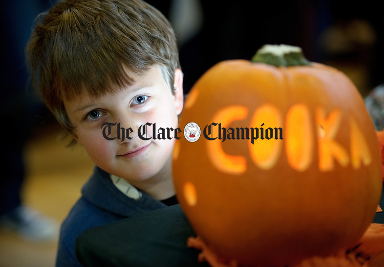 Aoibhin O Connor finds a pumpkin during the Burren Food Fayre in the Pavilion, Lisdoonvarna as part of the Burren Winterage Weekend. Photograph by John Kelly.