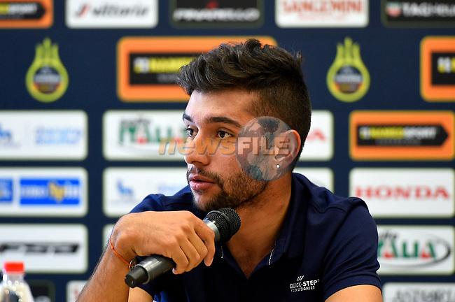Fernando Gaviria (ITA) Quick-Step Floors at the top riders press conference on the eve of the race of the two seas, 52nd Tirreno-Adriatico by NamedSport running from the 8th to 14th March, Italy. 7th March 2017.<br /> Picture: La Presse/Fabio Ferrari | Cyclefile<br /> <br /> <br /> All photos usage must carry mandatory copyright credit (&copy; Cyclefile | La Presse)