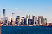 US, New York City. Lower Manhattan seen from the Staten Island ferry.
