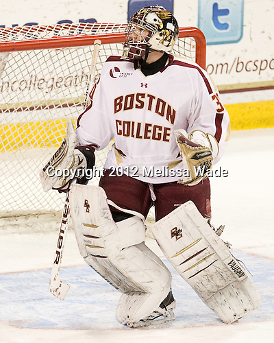 Chris Venti (BC - 30) - The Boston College Eagles defeated the Providence College Friars 7-0 on Saturday, February 25, 2012, at Kelley Rink at Conte Forum in Chestnut Hill, Massachusetts.