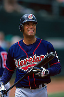 OAKLAND, CA - Roberto Alomar of the Cleveland Indians in action during a game against the Oakland Athletics at the Oakland Coliseum in Oakland, California on April 12, 2000. Photo by Brad Mangin