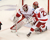 Sean Maguire (BU - 31), Sean Escobedo (BU - 21) - The Boston University Terriers defeated the visiting Northeastern University Huskies 5-0 on senior night Saturday, March 9, 2013, at Agganis Arena in Boston, Massachusetts.