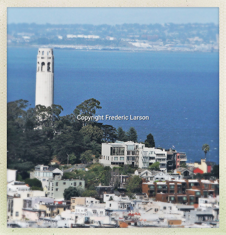 Coit Tower on Russian Hill taken from the roof of the Hilton Hotel.
