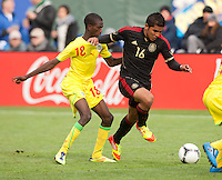 San Francisco, California - Saturday March 17, 2012: Miguel Ponce and Souleymane Cisse in action during the Mexico vs Senegal U23 in final Olympic qualifying tuneup. Mexico defeated Senegal 2-1