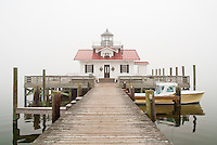 Outer Banks picture of the Manteo NC  lighthouse In the fog.