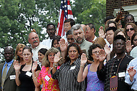 New American Citizens are sworn in during the 45th annual Independence Day Celebration and Naturalization Ceremony held Wednesday July 4, 2007 at Monticello in Charlottesville, VA. Photo/Andrew Shurtleff