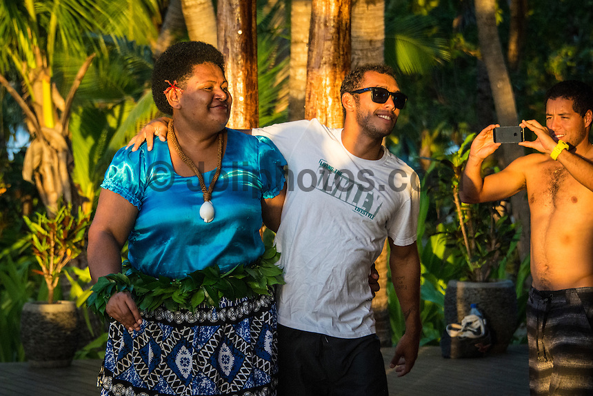 Namotu Island Resort, Namotu, Fiji. (Saturday May 31, 2014) Jadson Andre (BRA)  and Adriano de Souza (BRA) –  The official Opening Ceremony for the 2014 Fiji Pro was held this afternoon on Tavarua Island with a tradition blessing and kava ceremony for the officials and Top 34 surfers. Photo: joliphotos.com