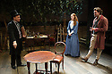 London, UK. 21.11.2013.  LIZZIE SIDDAL, a new play by Jeremy Green, opens at the Arcola Theatre. Picture shows: Daniel Crossley (John Ruskin), Emma West (Lizzie Siddal) and Tom Bateman (Dante Gabriel Rosetti). Photograph © Jane Hobson.
