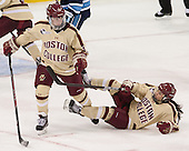 Emily Field (BC - 15), Kristyn Capizzano (BC - 7) - The Boston College Eagles defeated the visiting University of Maine Black Bears 5 to 1 on Sunday, October 6, 2013, in their Hockey East season opener at Kelley Rink in Conte Forum in Chestnut Hill, Massachusetts.
