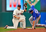 13 September 2008: Cleveland Indians' infielder Asdrubal Cabrera makes a play at second against the Kansas City Royals at Progressive Field in Cleveland, Ohio. The Indians fell to the Royals 8-3 in the first game of their rain delayed double-header...Mandatory Photo Credit: Ed Wolfstein Photo