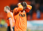 Dundee United v St Johnstone....21.11.15  SPFL,  Tannadice, Dundee<br /> Gavin Gunning holds his head at full time<br /> Picture by Graeme Hart.<br /> Copyright Perthshire Picture Agency<br /> Tel: 01738 623350  Mobile: 07990 594431