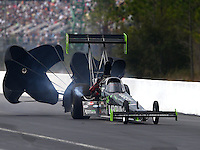 Mar 14, 2015; Gainesville, FL, USA; NHRA top fuel driver Ike Maier during qualifying for the Gatornationals at Auto Plus Raceway at Gainesville. Mandatory Credit: Mark J. Rebilas-