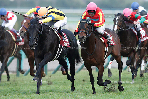 (L-R) Rosa Gigantea ( Mirco Demuro), Dance Director (Suguru Hamanaka),<br /> DECEMBER 26, 2015 - Horse Racing :<br /> Rosa Gigantea ridden by Mirco Demuro wins the Hanshin Cup at Hanshin Racecourse in Hyogo, Japan. (Photo by Eiichi Yamane/AFLO)