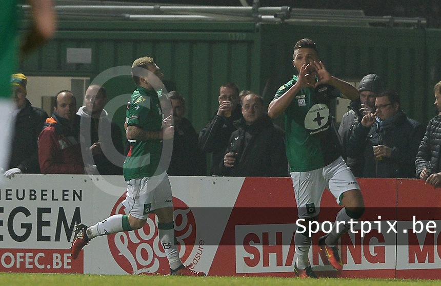 20161217 - ROESELARE , BELGIUM : Cercle's Yvan Yagan (middle) pictured celebrating his goal during the Proximus League match of D1B between Roeselare and Cercle Brugge, in Roeselare, on Saturday 17 December 2016, on the day 20 of the Belgian soccer championship, division 1B. . SPORTPIX.BE | DAVID CATRY