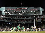 (Boston, MA, 11/21/15) Notre Dame Fighting Irish quarterback DeShone Kizer passes the football during the second half as Notre Dame hosts Boston College at Fenway Park in Boston on Saturday, November 21, 2015. Staff photo by Christopher Evans