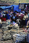 South America, Peru, Pisac. Pisac market scene in the Sacred Valley.