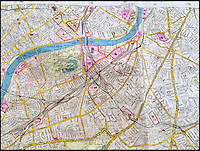 BNPS.co.uk (01202 558833)<br /> Pic: Bosleys/BNPS<br /> <br /> The map provides detailed notes on Battersea Power station (58 on map) a key target which provided electricity to the city.<br /> <br /> An extremely rare map of German bombing targets in London in the Second World War has been unearthed after more than 75 years.<br /> <br /> It belonged to a Luftwaffe navigator and highlights important buildings and targets in central and south London, including Battersea Power Station and Chelsea Barracks. <br /> <br /> Other notable targets were Duke of York's headquarters and Fulham Palace, the home of the Bishop of London.<br /> <br /> The map, which focuses on Kensington, Wimbledon and Fulham, is dated from November 30, 1941, 14 months after the Germans began their Blitz bombing campaign on British cities. <br /> <br /> It was found in the loft of a late Second World War air gunner and is believed to have come from the debris of a shot-down Luftwaffe.