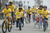 A group of elementary students peddle north along the Santa Monica Bikepath during Virginia Avenue Park's Summer Camp Program on Friday, July 6, 2007.