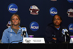 05 December 2009: North Carolina's Kristi Eveland (left) and Jessica McDonald (right). The University of North Carolina Tar Heels held a press conference at the Aggie Soccer Complex in College Station, Texas on the day before playing the Stanford University Cardinal in the NCAA Division I Women's College Cup championship game.