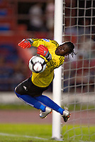 Action photo of Geralda Saintillius of Haiti tries to make the save. The US Women's National Team defeated Haiti 5-0 during the CONCACAF Women's World Cup Qualifying tournament at Estadio Quintana Roo in Cancun, Mexico on October 28th, 2010.