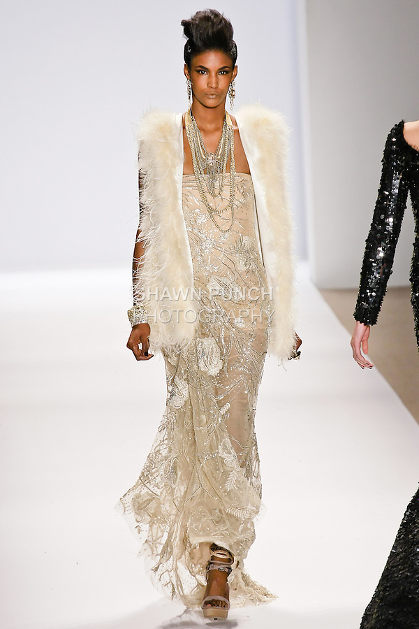 Sessilee Lopez walks the runway in a Naeem Khan Fall 2010 outfit, during Mercedes-Benz Fashion Week Fall 2010.