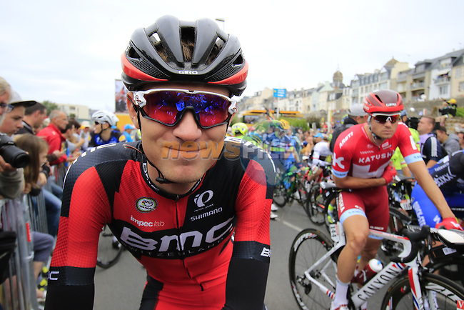 The peloton including Teejay Van Garderen (USA) BMC Racing Team lined up for the start of Stage 3 of the 2016 Tour de France, running 223.5km from Granville to Angers, France . 4th July 2016.<br /> Picture: Eoin Clarke | Newsfile<br /> <br /> <br /> All photos usage must carry mandatory copyright credit (&copy; Newsfile | Eoin Clarke)