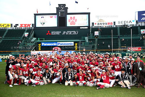 "Ritsumeikan University  ""Panthers""  team group, DECEMBER 13, 2015 - American Football : All Japan American Football college Championship final match ""Koshien Bowl"" between Waseda University ""Big Bears"" 27 - 28 Ritsumeikan University ""Panthers"" at Koshien Stadium in Hyogo, Japan. (Photo by AFLO)"