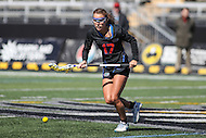 Towson, MD - March 5, 2017: Florida Gators Mollie Stevens (17) tries to get the groundball during game between Towson and Florida at  Minnegan Field at Johnny Unitas Stadium  in Towson, MD. March 5, 2017.  (Photo by Elliott Brown/Media Images International)