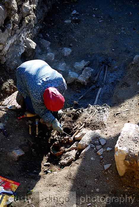 Excavating human skeleton, Nin, Croatia