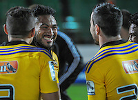Ma'a Nonu chats with teammates after the Super Rugby match between the Hurricanes and Blues at FMG Stadium, Palmerston North, New Zealand on Friday, 13 March 2015. Photo: Dave Lintott / lintottphoto.co.nz