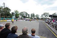 KAATSEN: FRANEKER: Sportcomplex 'De Trije', 01-09-2012, Wereldkampioenschap Kaatsen, Llargues, Finale Team Nederland - Team Colombia, Eindstand 10-1, overzicht speelveld met gele lijnen, ©foto Martin de Jong