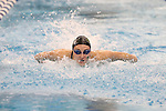18 February 2016: Notre Dame's Kyra Sarazen competes in the Women's 200 Individual Medley preliminary Heat 6. The 2016 Atlantic Coast Conference Swimming and Diving Championships were held at the Greensboro Aquatic Center in Greensboro, North Carolina from February 17-27, 2016.