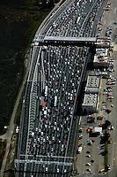 aerial photograph of San Francisco Oakland Bay Bridge toll plaza