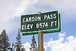Carson Pass sign.  El. 8574 Ft.