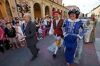 Castelfranco Emilia, Festa di San Nicola - Sagra del Tortellino (Tortellini Festival).<br /> From l.: Gianni degli Angeli; Massimo Bottura, Oste (host) 2011; Monica Larner, Dama 2011.