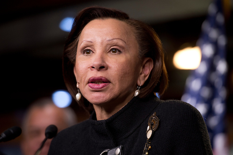 "UNITED STATES - NOVEMBER 28:  Rep. Nydia Velazquez, D-N.Y., speaks at a news conference in the Capitol Visitor Center held by the Congressional Hispanic Caucus entitled ""One Nation: Principles on Immigration Reform and Our Commitment to the American Dream.""  (Photo By Tom Williams/CQ Roll Call)"