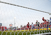 06 April 2013: Toronto FC forward Justin Braun #17 heads a ball past FC Dallas goalkeeper Raul Fernandez #1during an MLS game between FC Dallas and Toronto FC at BMO Field in Toronto, Ontario Canada..The game ended in a 2-2 draw..