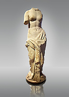 Statue of a Nymphe, the spirit of the meadows, forest & waters, an early Roman marble sculpture, Ist cent B.C, from Tralles (Aydin) , west Turkey. Istanbul Archaeological museum Cat. Mendel 543.