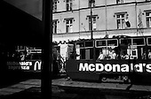 Bydgoszcz, Poland.August 1997.Trams once colorless and run down now operate with loud advertisements for western products..