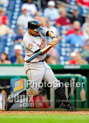 23 September 2010: Houston Astros infielder Angel Sanchez in action against the Washington Nationals at Nationals Park in Washington, DC. The Nationals defeated the Astros 7-2 for their third consecutive win, taking the series three games to one. Mandatory Credit: Ed Wolfstein Photo
