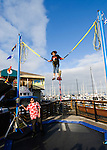 California, San Francisco: Trampoline entertainment at Pier 39..Photo #: 14-casanf76028.Photo © Lee Foster 2008
