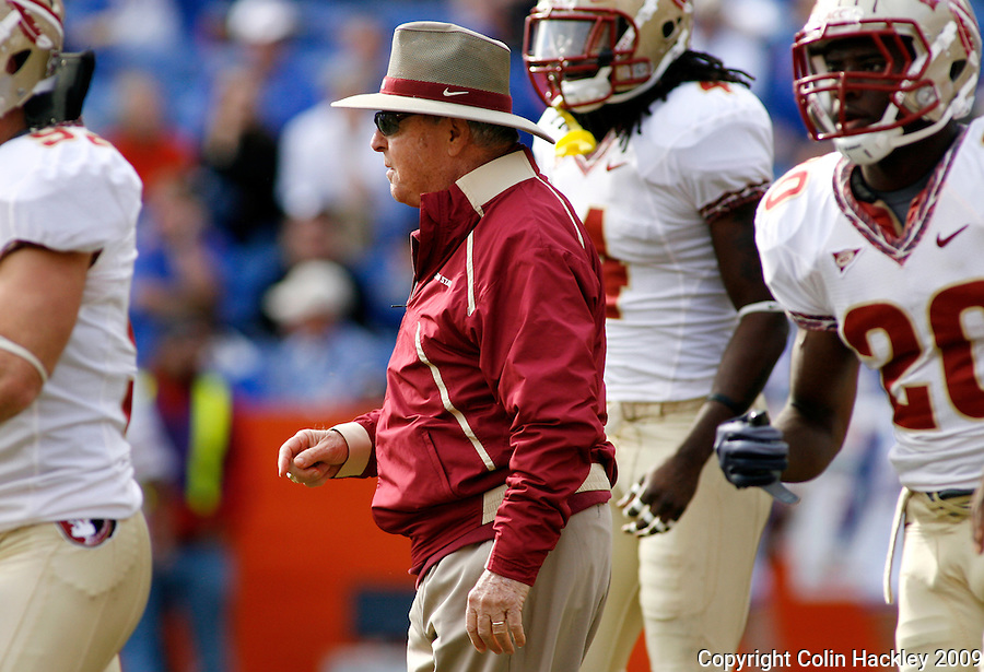 GAINESVILLE, FL 11/28/09-FSU-UF FB09 CH66-Florida State Head Coach Bobby Bowden walks with his team prior to the Florida game Saturday at Florida Field in Gainesville. .COLIN HACKLEY PHOTO