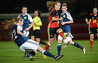 20170411 - LEUVEN ,  BELGIUM : Belgian Janice Cayman  pictured in a duel with Scottish Vaila Barsley (left) during the friendly female soccer game between the Belgian Red Flames and Scotland , a friendly game in the preparation for the European Championship in The Netherlands 2017  , Tuesday 11 th April 2017 at Stadion Den Dreef  in Leuven , Belgium. PHOTO SPORTPIX.BE   DAVID CATRY
