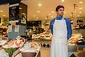Paris, France. 09.05.2015. Fishmonger, Rue Mouffetarde, 5th Arrondissement, Paris, France. Photograph © jane Hobson.