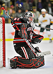 27 January 2012: Northeastern University Huskies' goaltender Chris Rawlings, a Junior from North Delta, British Columbia, in second period action against the University of Vermont Catamounts at Gutterson Fieldhouse in Burlington, Vermont. The Huskies defeated the Catamounts 8-3 in the first game of their 2-game Hockey East weekend series. Mandatory Credit: Ed Wolfstein Photo