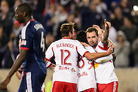 Jonny Steele (22) of the New York Red Bulls celebrates scoring with teammates . The New York Red Bulls defeated the Chicago Fire 5-2 during a Major League Soccer (MLS) match at Red Bull Arena in Harrison, NJ, on October 27, 2013.