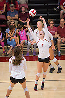 STANFORD, CA - August 28, 2016: Jenna Gray at Maples Pavilion. The Stanford Cardinal defeated the University of Minnesota 3-1.