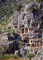 Antalya, Turkey, October 2005. Rock graves in Demre Myra. Sailing the Turkish coast in a wooden Gulet takes one along the most beautiful stretches of the Mediterranean. Small fishing villages, ancient Lycian and Byzantine ruins are scattered in the mountainous landscape lined by tranquil beaches and small islands. Photo by Frits Meyst / MeystPhoto.com