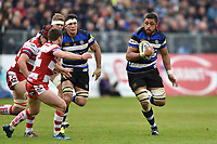 Taulupe Faletau of Bath Rugby in possession. Aviva Premiership match, between Bath Rugby and Gloucester Rugby on April 30, 2017 at the Recreation Ground in Bath, England. Photo by: Patrick Khachfe / Onside Images