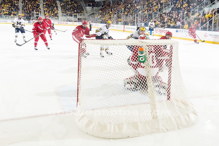 The University of Michigan men's hockey team, 6-4, victory over Wisconsin at Yost Ice Arena in Ann Arbor, Mich., on Dec. 04, 2015.
